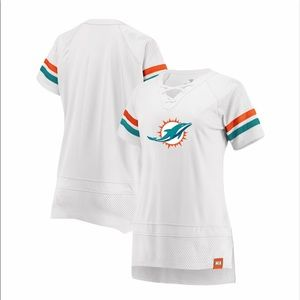 FANATICS - Women's Miami Dolphins Draft Me Lace Up Tee in White